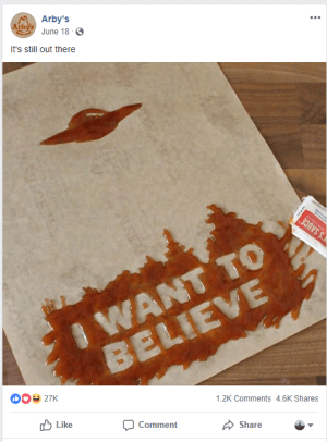 """I want to believe"" ketchup design with Arby's"
